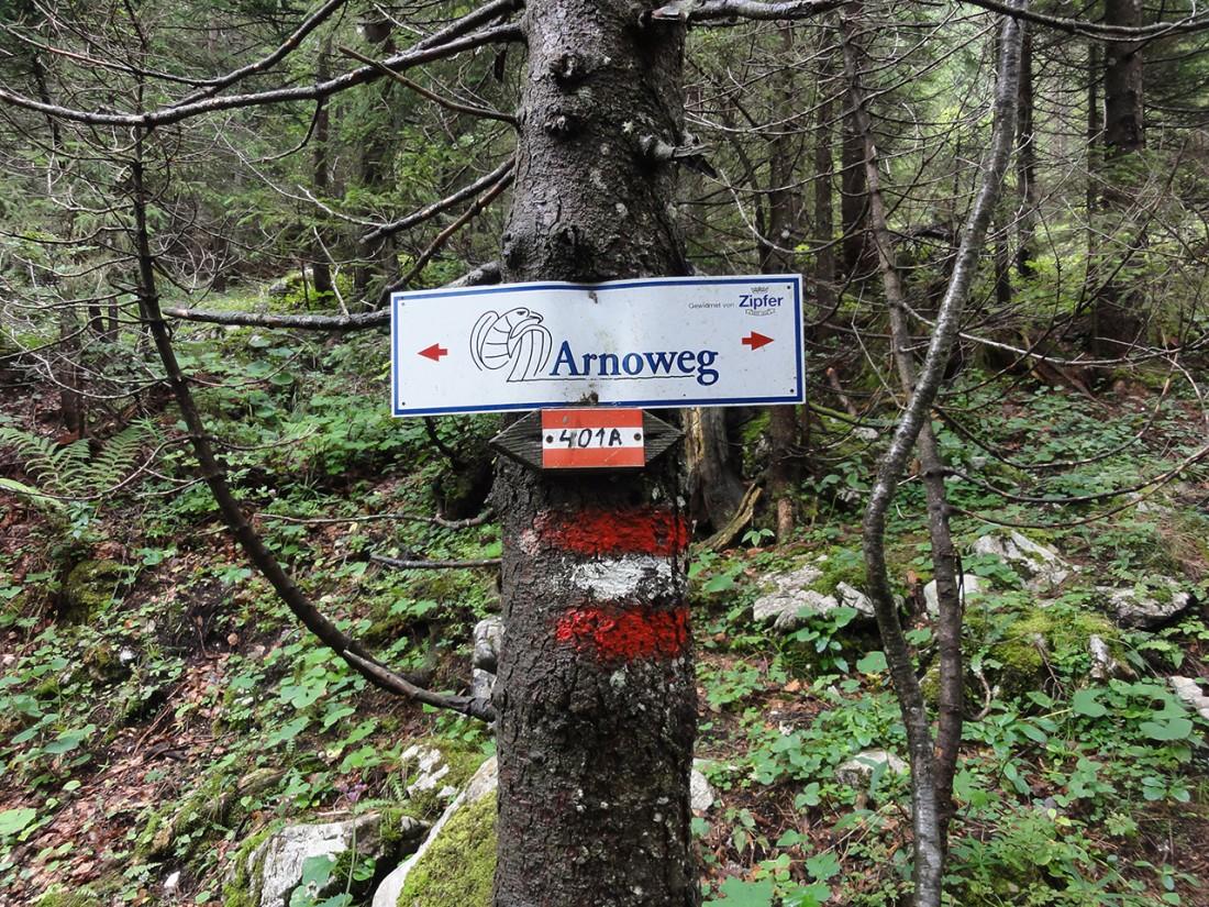 Arnoweg: Arnowegschild kurz vor der Hundsalm