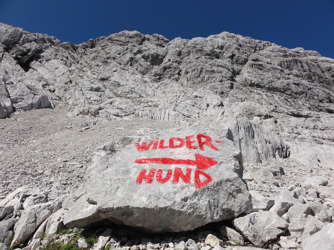 Arnoweg: Einstieg zum Klettersteig Wilder Hund (D)
