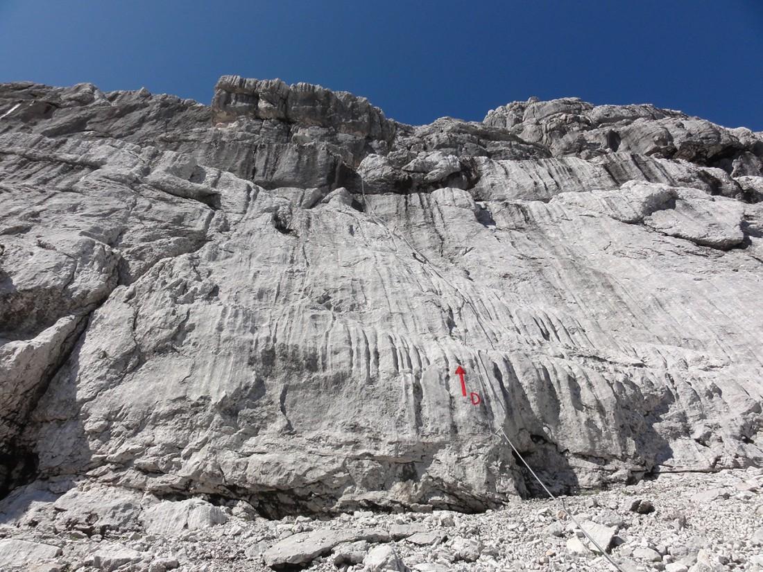Arnoweg: Der Beginn des Klettersteigs Wilder Hund (D)