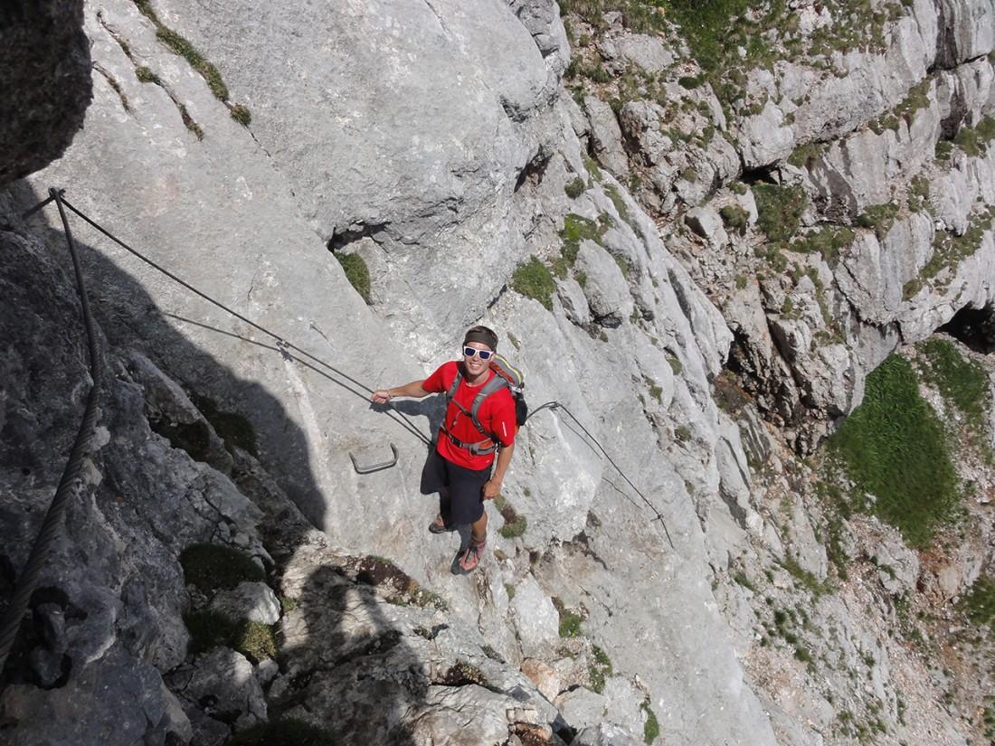 Arnoweg: Über einen leichten Klettersteig geht es wieder zurück zur Passauer Hütte