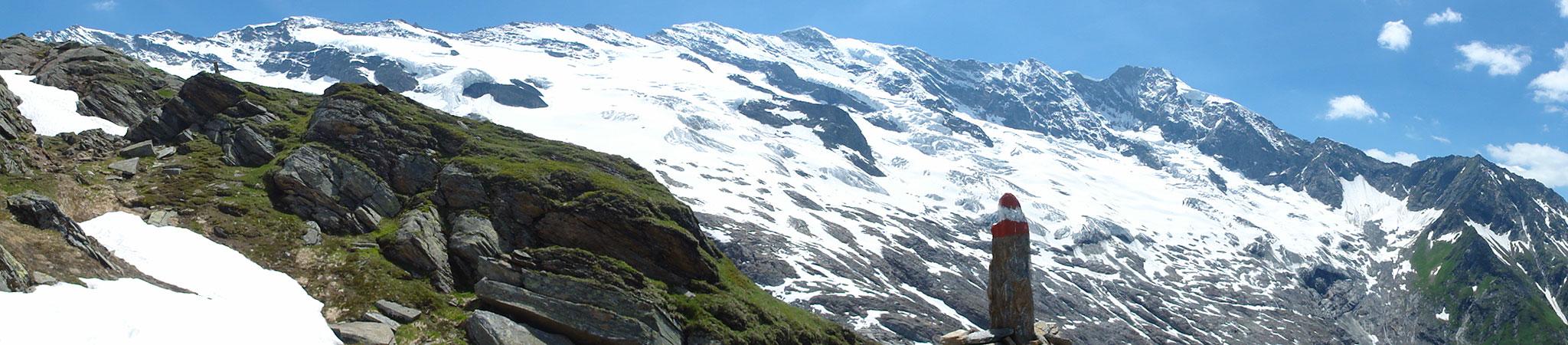 Arnoweg: Das imposante Krimmler Kees bildet die Kulisse beim Aufstieg von der Warnsdorfer Hütte auf das Gamsspitzl.