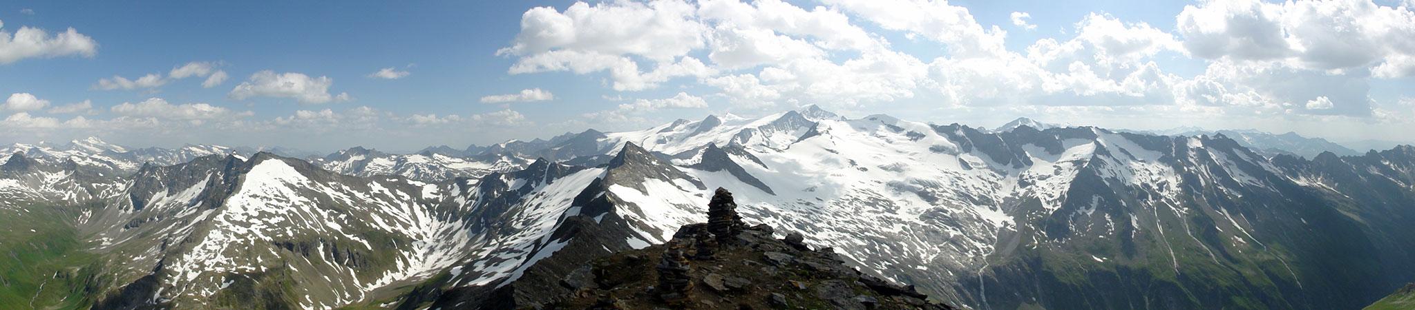 Arnoweg: Herrliches Panorama vom Larmkogel Richtung Großvenediger im Südwesten