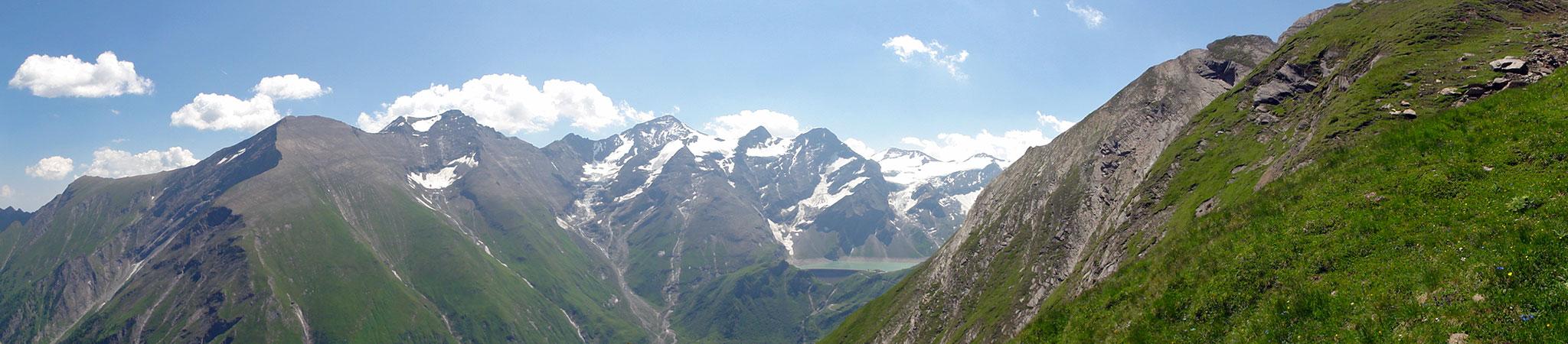 Arnoweg: Blick zurück auf die Hochgebirgsstauseen Kaprun und das Große Wiesbachhorn
