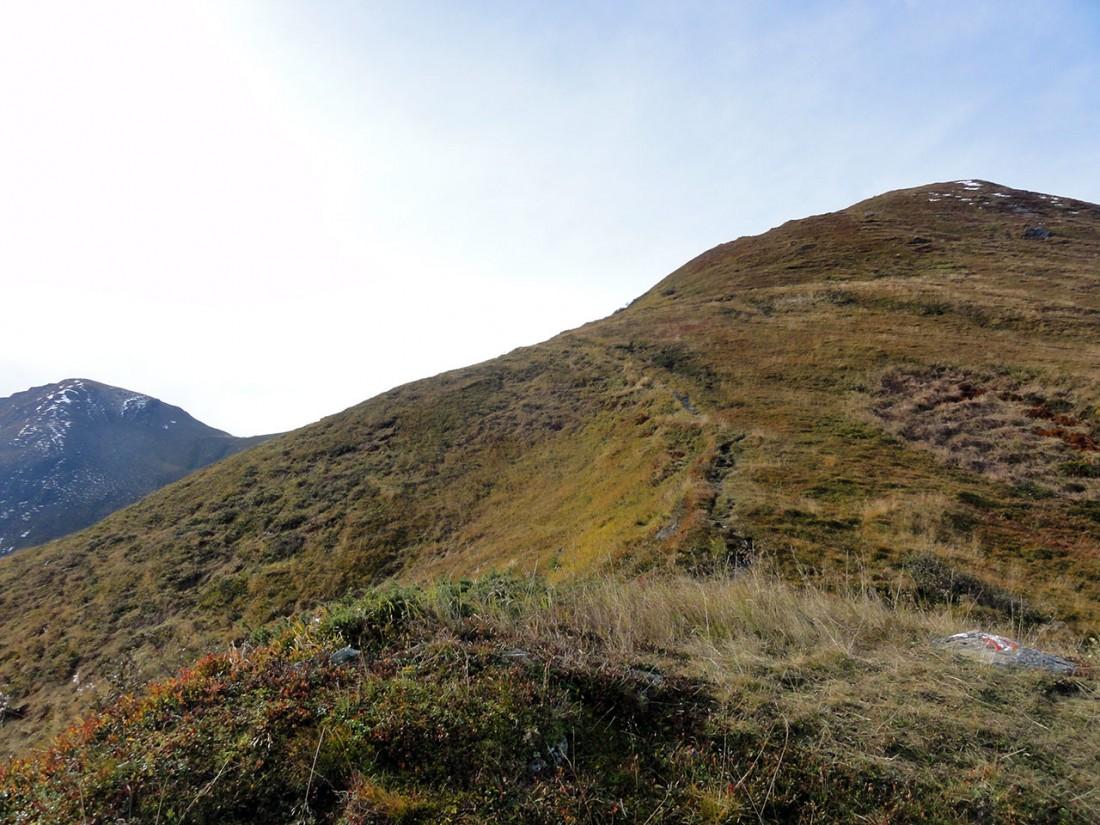 Arnoweg: Der Weg führt weiter über einen Rücken Richtung Laubkopf.