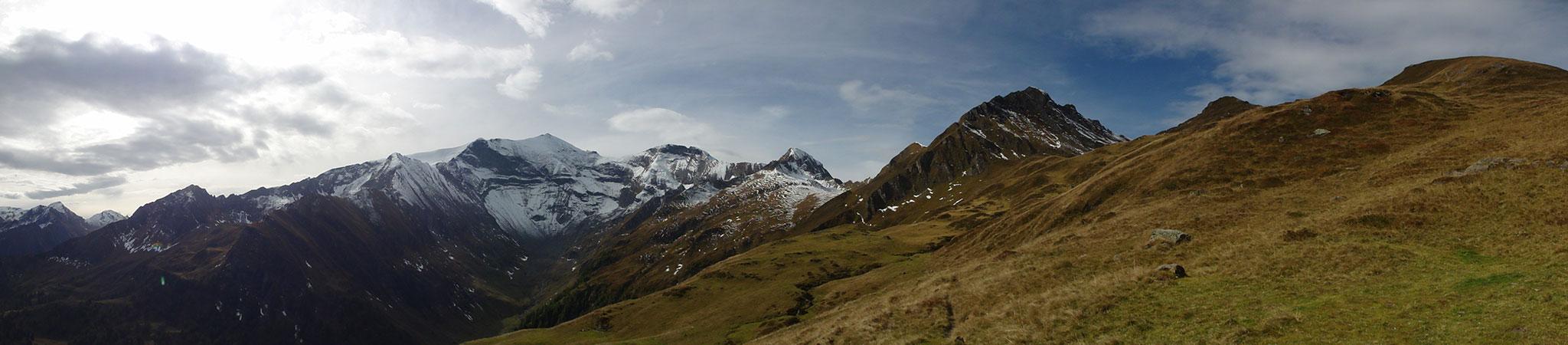 Arnoweg: Herbstliche Bergwiesen vor dem bereits verschneiten Gipfel des Hohen Tenn (3368 m)