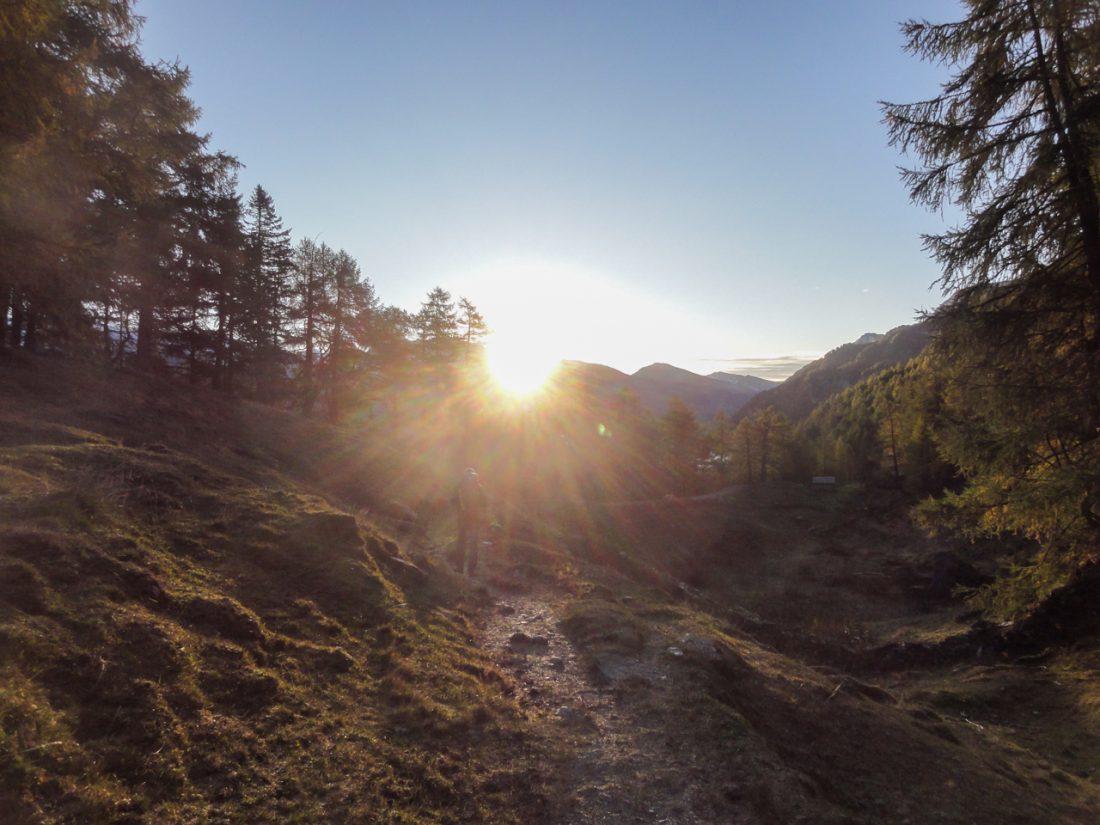 Arnoweg: Sonnenaufgang bei der Trogalm