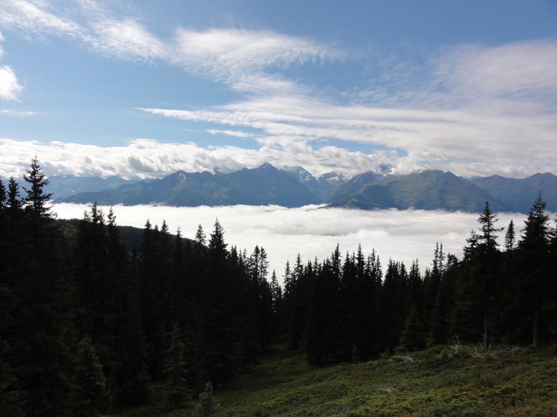 Arnoweg: Grandioser Ausblick Richtung Alpenhauptkamm und Wolkenmeer