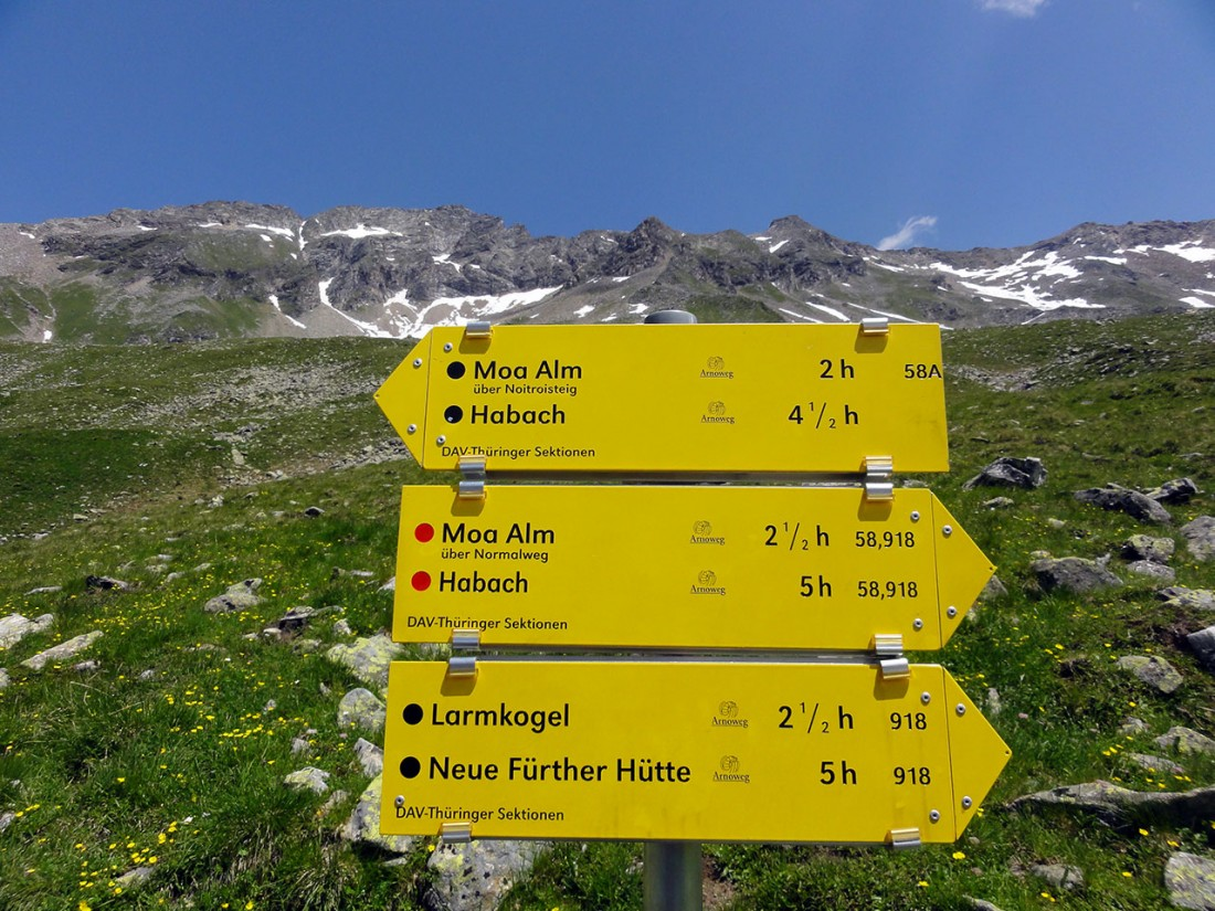 Arnoweg: Von der Neuen Thüringer Hütte geht es weiter auf den Larmkogel.