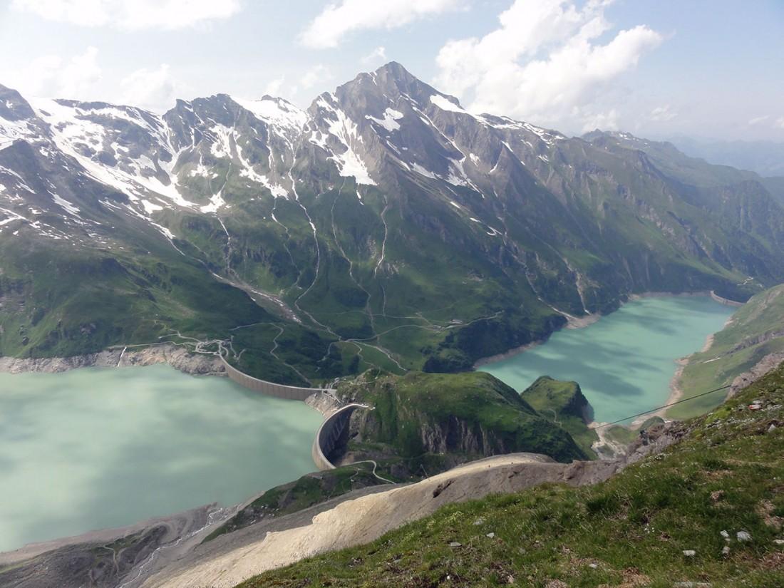 Arnoweg: Kitzsteinhorn (3203 m) und die Stauseen Mooserboden und Wasserfallboden